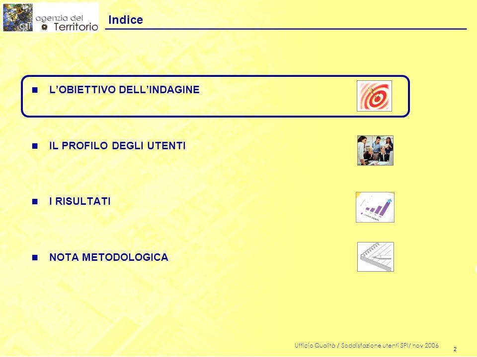 2 Ufficio Qualità / Soddisfazione utenti SPI/ nov 2006 2 n LOBIETTIVO DELLINDAGINE n IL PROFILO DEGLI UTENTI n I RISULTATI n NOTA METODOLOGICA Indice