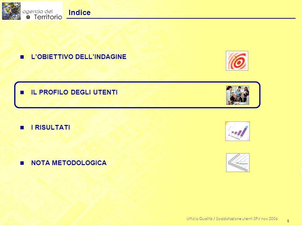 5 Ufficio Qualità / Soddisfazione utenti SPI/ nov 2006 5 n LOBIETTIVO DELLINDAGINE n IL PROFILO DEGLI UTENTI n I RISULTATI n NOTA METODOLOGICA Indice