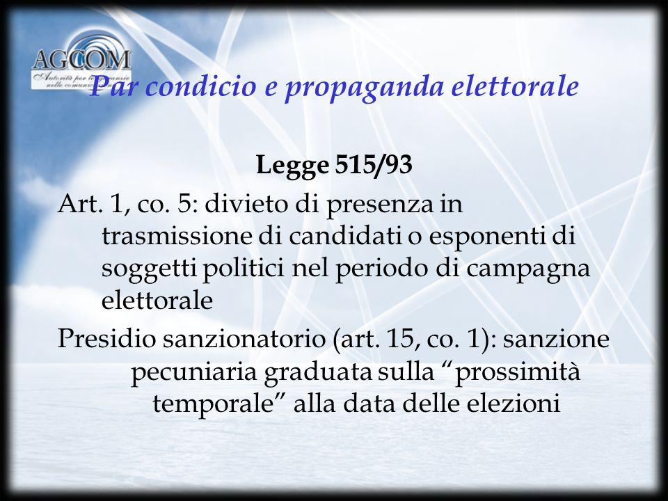 Par condicio e propaganda elettorale Legge 515/93 Art.