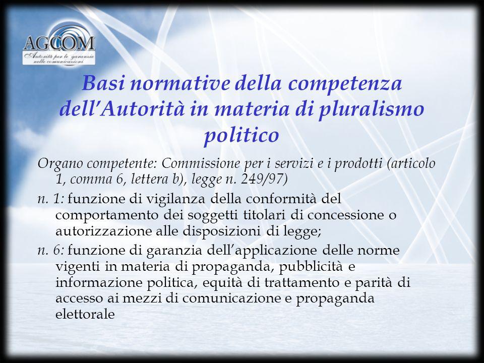 Basi normative della competenza dellAutorità in materia di pluralismo politico Organo competente: Commissione per i servizi e i prodotti (articolo 1, comma 6, lettera b), legge n.