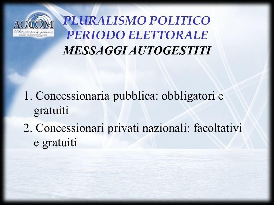 PLURALISMO POLITICO PERIODO ELETTORALE MESSAGGI AUTOGESTITI 1.