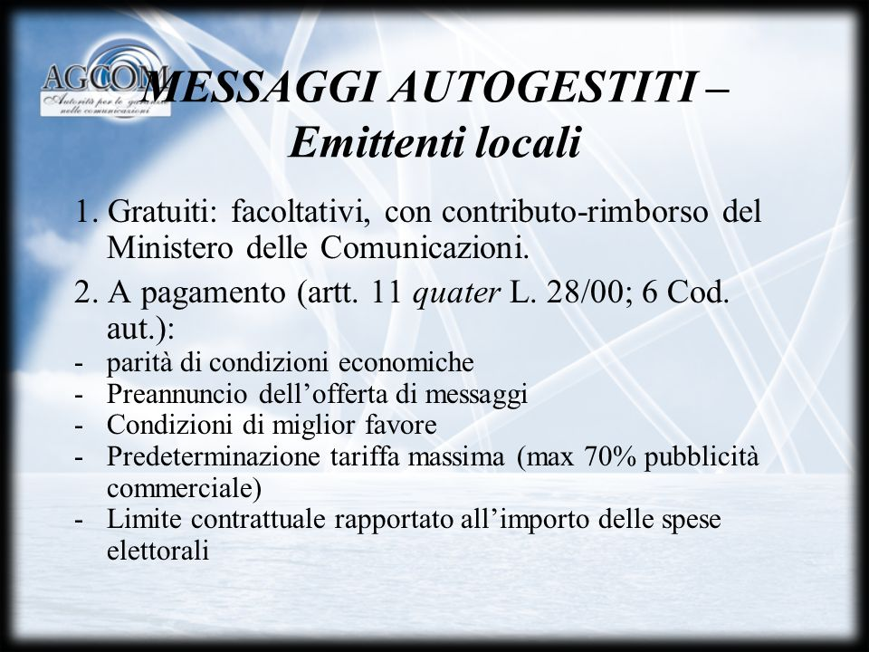 MESSAGGI AUTOGESTITI – Emittenti locali 1.