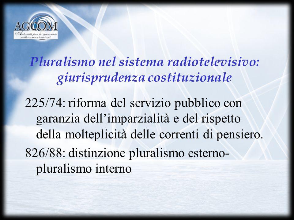 Pluralismo nel sistema radiotelevisivo: giurisprudenza costituzionale 225/74: riforma del servizio pubblico con garanzia dellimparzialità e del rispetto della molteplicità delle correnti di pensiero.