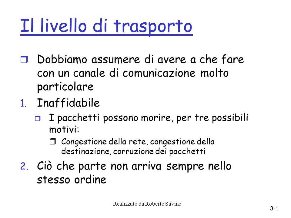 Realizzato da Roberto Savino 3-1 Il livello di trasporto r Dobbiamo assumere di avere a che fare con un canale di comunicazione molto particolare 1.
