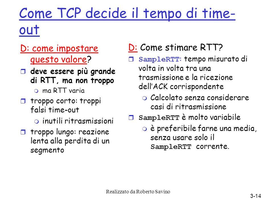 Realizzato da Roberto Savino 3-14 Come TCP decide il tempo di time- out D: come impostare questo valore.