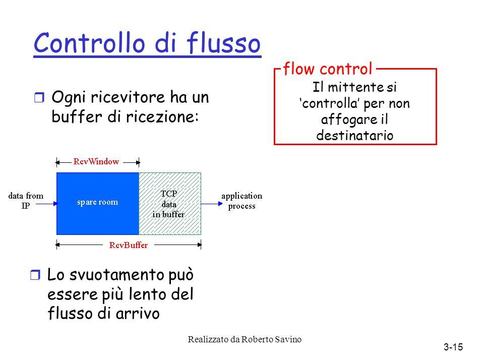 Realizzato da Roberto Savino 3-15 Controllo di flusso r Ogni ricevitore ha un buffer di ricezione: r Lo svuotamento può essere più lento del flusso di arrivo Il mittente si controlla per non affogare il destinatario flow control