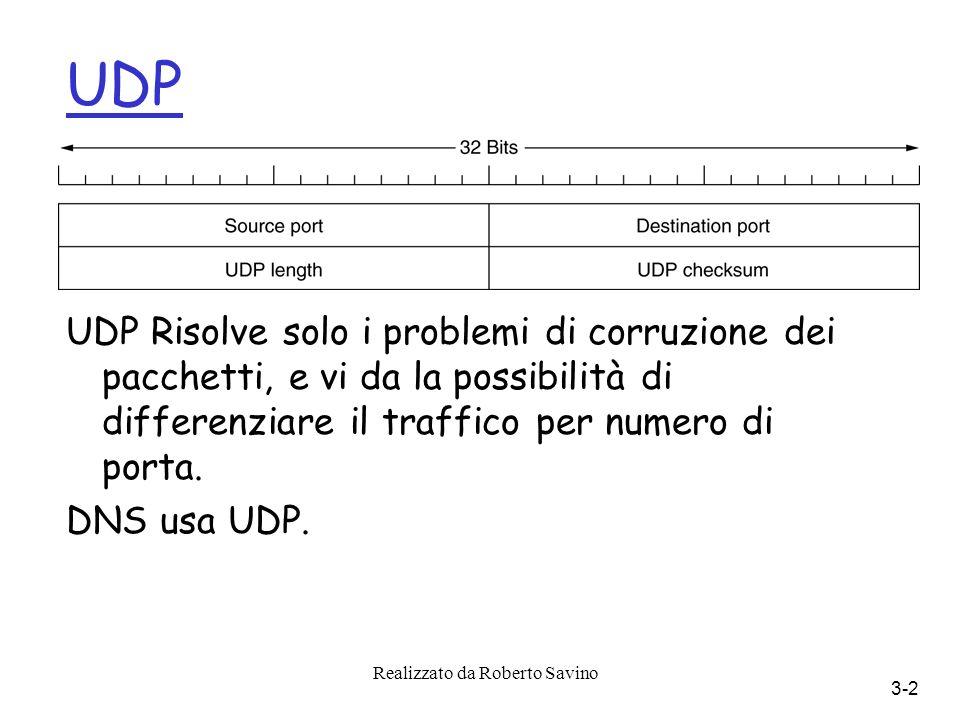 Realizzato da Roberto Savino 3-2 UDP UDP Risolve solo i problemi di corruzione dei pacchetti, e vi da la possibilità di differenziare il traffico per numero di porta.