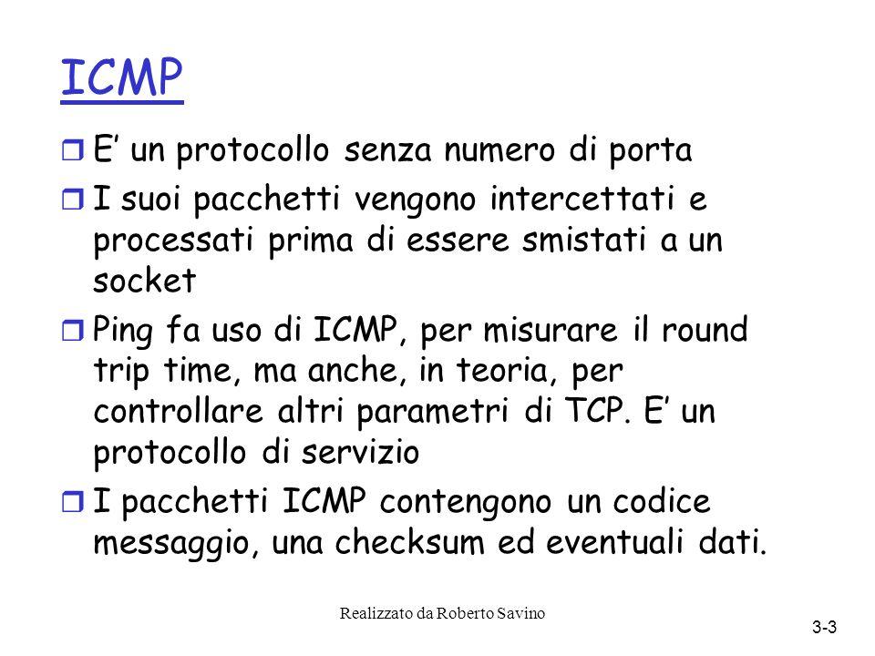 Realizzato da Roberto Savino 3-3 ICMP r E un protocollo senza numero di porta r I suoi pacchetti vengono intercettati e processati prima di essere smistati a un socket r Ping fa uso di ICMP, per misurare il round trip time, ma anche, in teoria, per controllare altri parametri di TCP.