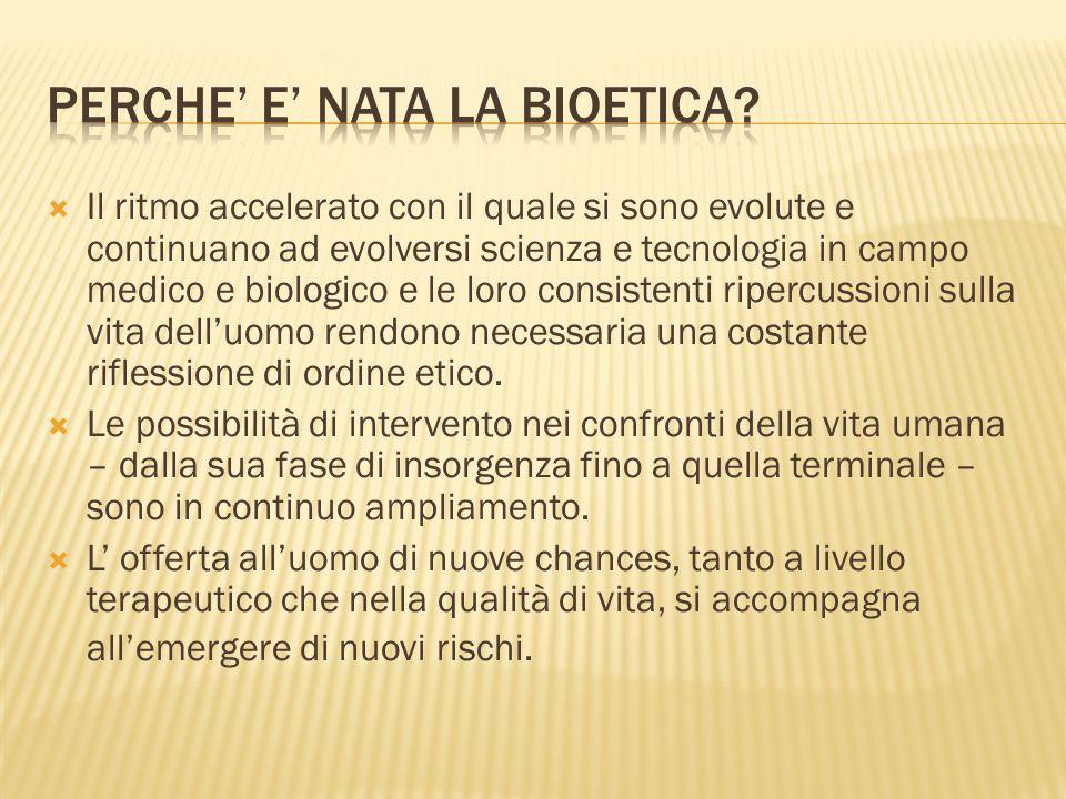Le aree che interessano la bioetica sono diverse.