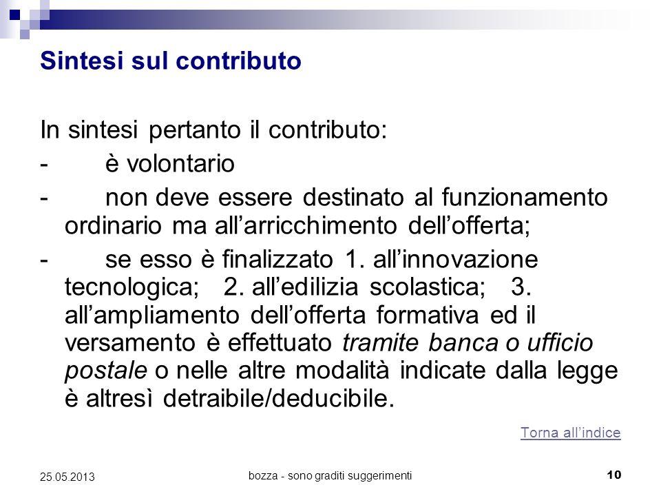 bozza - sono graditi suggerimenti10 25.05.2013 Sintesi sul contributo In sintesi pertanto il contributo: - è volontario - non deve essere destinato al funzionamento ordinario ma allarricchimento dellofferta; - se esso è finalizzato 1.