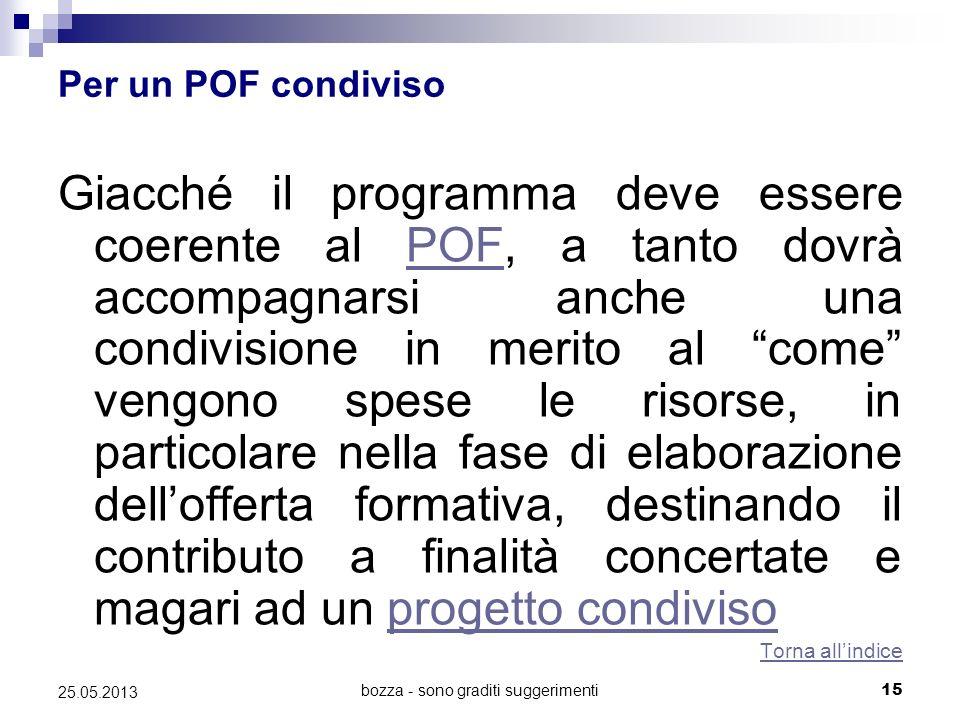 bozza - sono graditi suggerimenti15 25.05.2013 Per un POF condiviso Giacché il programma deve essere coerente al POF, a tanto dovrà accompagnarsi anch