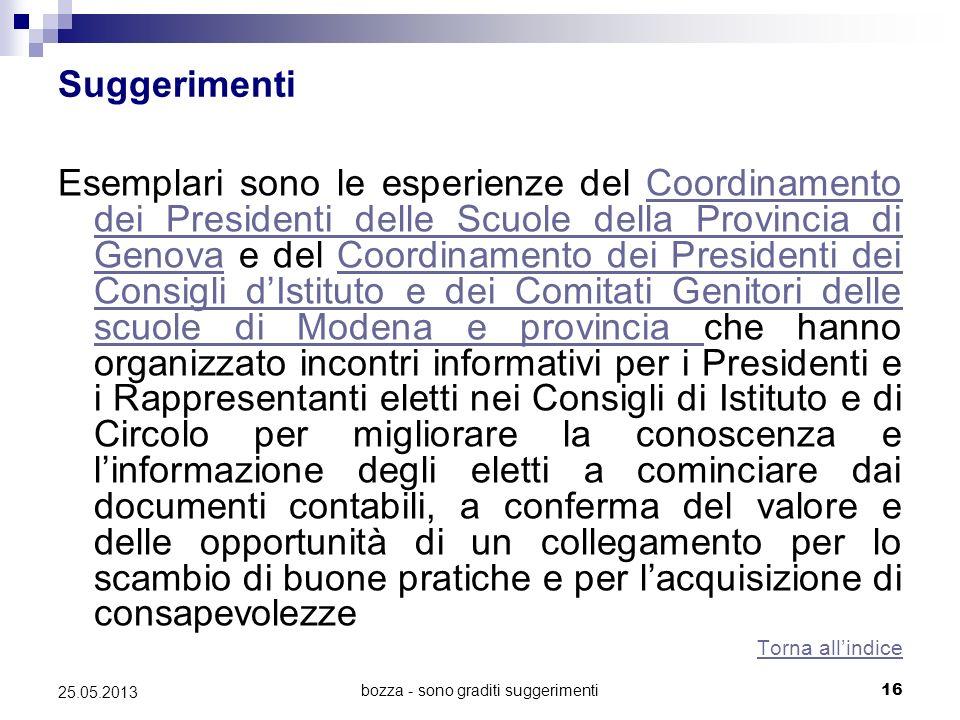 bozza - sono graditi suggerimenti16 25.05.2013 Suggerimenti Esemplari sono le esperienze del Coordinamento dei Presidenti delle Scuole della Provincia