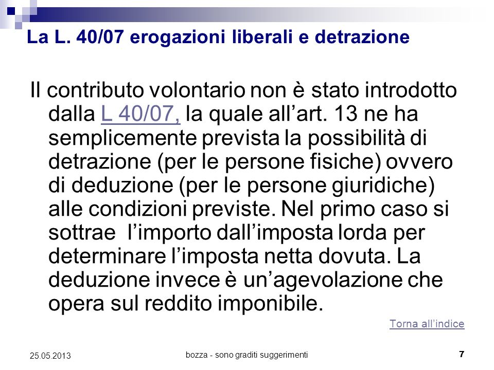 bozza - sono graditi suggerimenti7 25.05.2013 La L. 40/07 erogazioni liberali e detrazione Il contributo volontario non è stato introdotto dalla L 40/