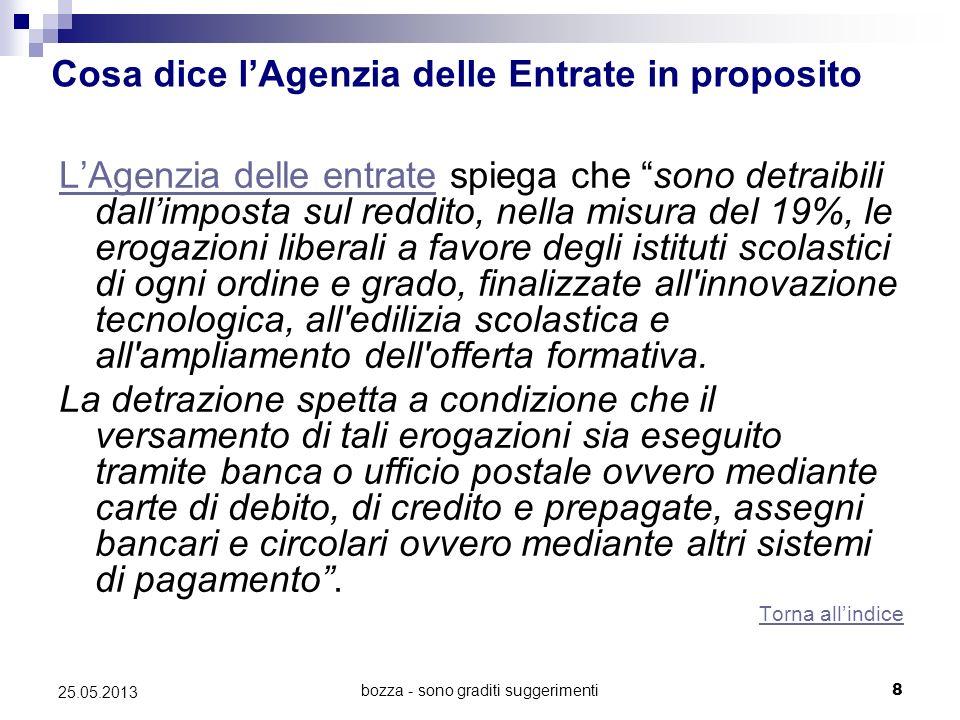 bozza - sono graditi suggerimenti8 25.05.2013 Cosa dice lAgenzia delle Entrate in proposito LAgenzia delle entrateLAgenzia delle entrate spiega che so