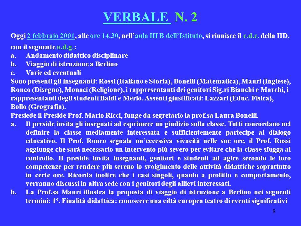 8 VERBALE N. 2 Oggi 2 febbraio 2001, alle ore 14.30, nellaula III B dellIstituto, si riunisce il c.d.c. della IID. con il seguente o.d.g.: a.Andamento
