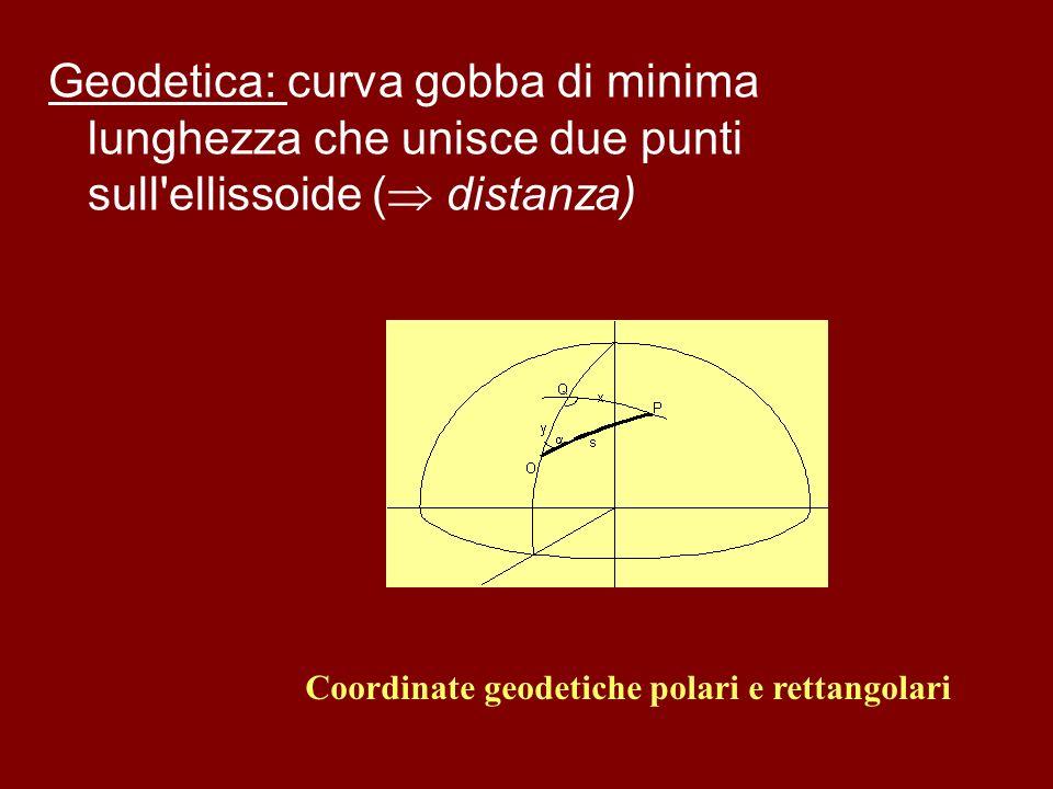 Geodetica: curva gobba di minima lunghezza che unisce due punti sull'ellissoide ( distanza) Coordinate geodetiche polari e rettangolari