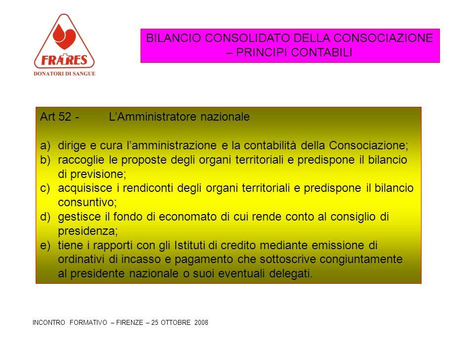 BILANCIO CONSOLIDATO DELLA CONSOCIAZIONE – PRINCIPI CONTABILI Art 52 - LAmministratore nazionale a)dirige e cura lamministrazione e la contabilità del