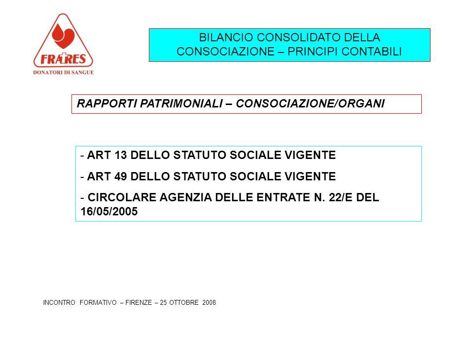 BILANCIO CONSOLIDATO DELLA CONSOCIAZIONE – PRINCIPI CONTABILI RAPPORTI PATRIMONIALI – CONSOCIAZIONE/ORGANI - ART 13 DELLO STATUTO SOCIALE VIGENTE - ART 49 DELLO STATUTO SOCIALE VIGENTE - CIRCOLARE AGENZIA DELLE ENTRATE N.