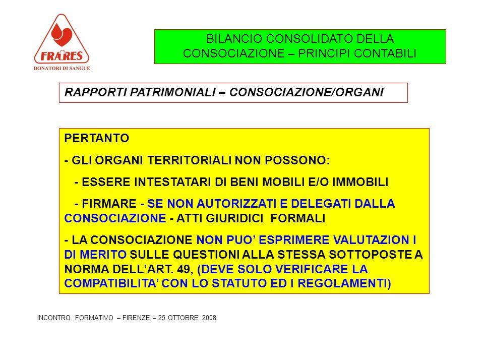 BILANCIO CONSOLIDATO DELLA CONSOCIAZIONE – PRINCIPI CONTABILI RAPPORTI PATRIMONIALI – CONSOCIAZIONE/ORGANI PERTANTO - GLI ORGANI TERRITORIALI NON POSSONO: - ESSERE INTESTATARI DI BENI MOBILI E/O IMMOBILI - FIRMARE - SE NON AUTORIZZATI E DELEGATI DALLA CONSOCIAZIONE - ATTI GIURIDICI FORMALI - LA CONSOCIAZIONE NON PUO ESPRIMERE VALUTAZION I DI MERITO SULLE QUESTIONI ALLA STESSA SOTTOPOSTE A NORMA DELLART.