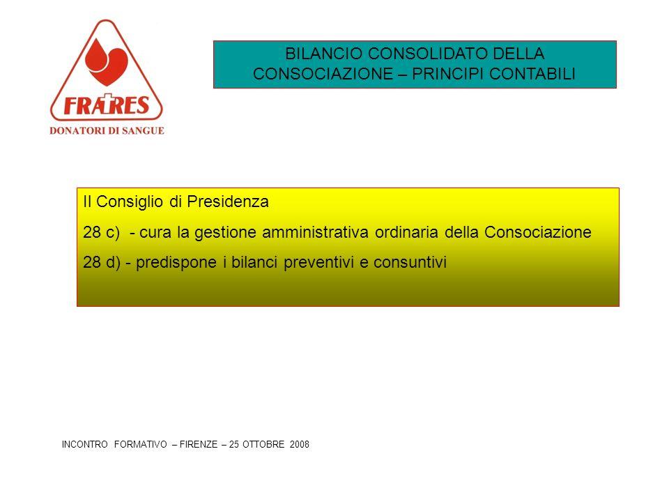 BILANCIO CONSOLIDATO DELLA CONSOCIAZIONE – PRINCIPI CONTABILI Il Consiglio di Presidenza 28 c) - cura la gestione amministrativa ordinaria della Conso