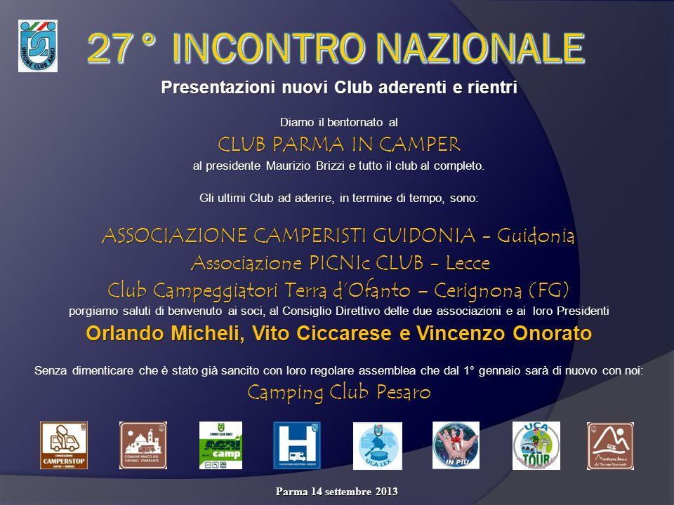 Presentazioni nuovi Club aderenti e rientri Diamo il bentornato al CLUB PARMA IN CAMPER al presidente Maurizio Brizzi e tutto il club al completo.