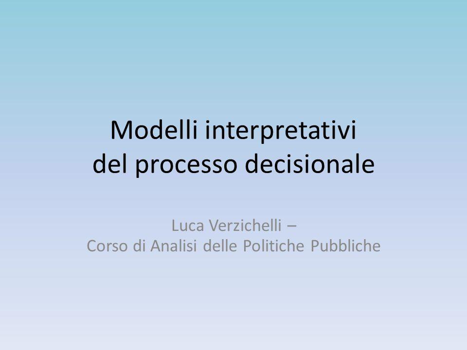 Modelli interpretativi del processo decisionale Luca Verzichelli – Corso di Analisi delle Politiche Pubbliche