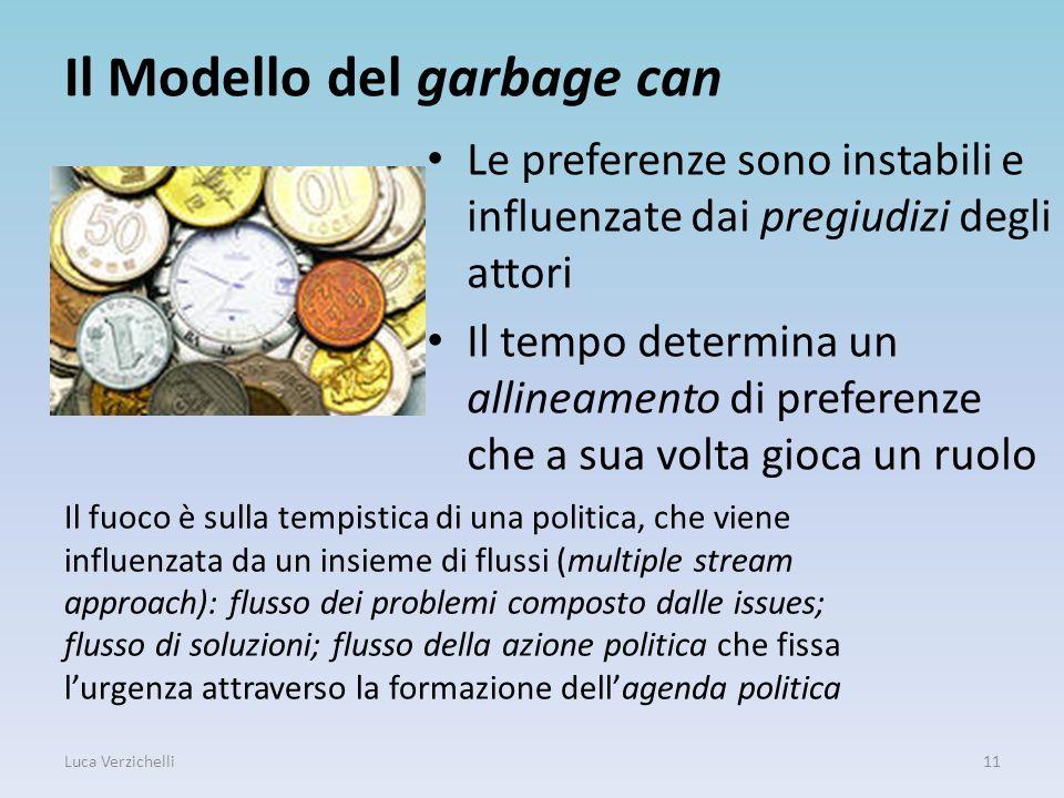 Il Modello del garbage can Le preferenze sono instabili e influenzate dai pregiudizi degli attori Il tempo determina un allineamento di preferenze che
