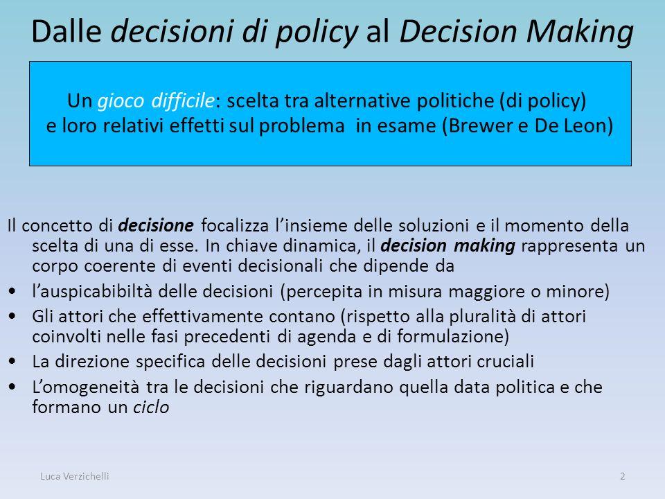 Luca Verzichelli2 Dalle decisioni di policy al Decision Making Il concetto di decisione focalizza linsieme delle soluzioni e il momento della scelta d