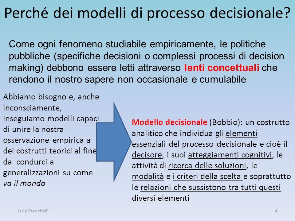 Luca Verzichelli4 Perché dei modelli di processo decisionale? Abbiamo bisogno e, anche inconsciamente, inseguiamo modelli capaci di unire la nostra os