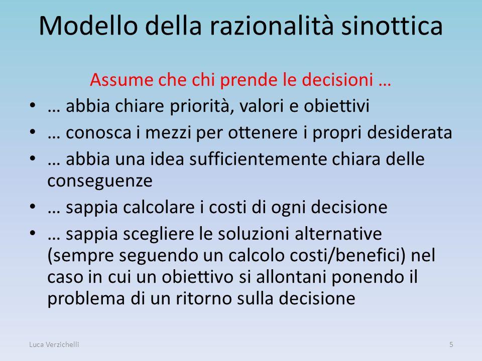 Modello della razionalità sinottica Assume che chi prende le decisioni … … abbia chiare priorità, valori e obiettivi … conosca i mezzi per ottenere i