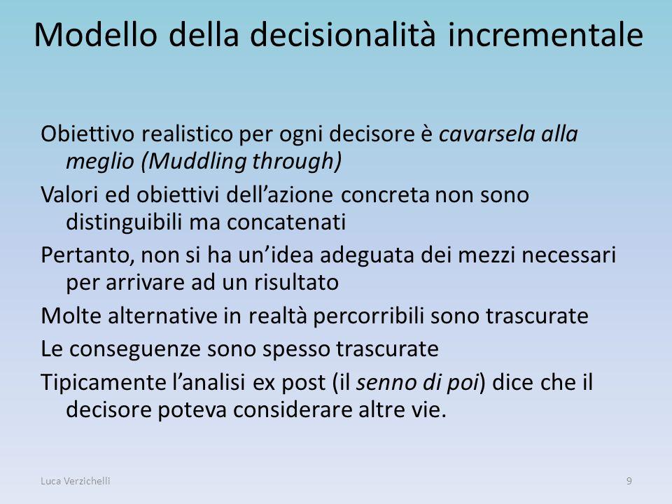 Modello della decisionalità incrementale Obiettivo realistico per ogni decisore è cavarsela alla meglio (Muddling through) Valori ed obiettivi dellazi