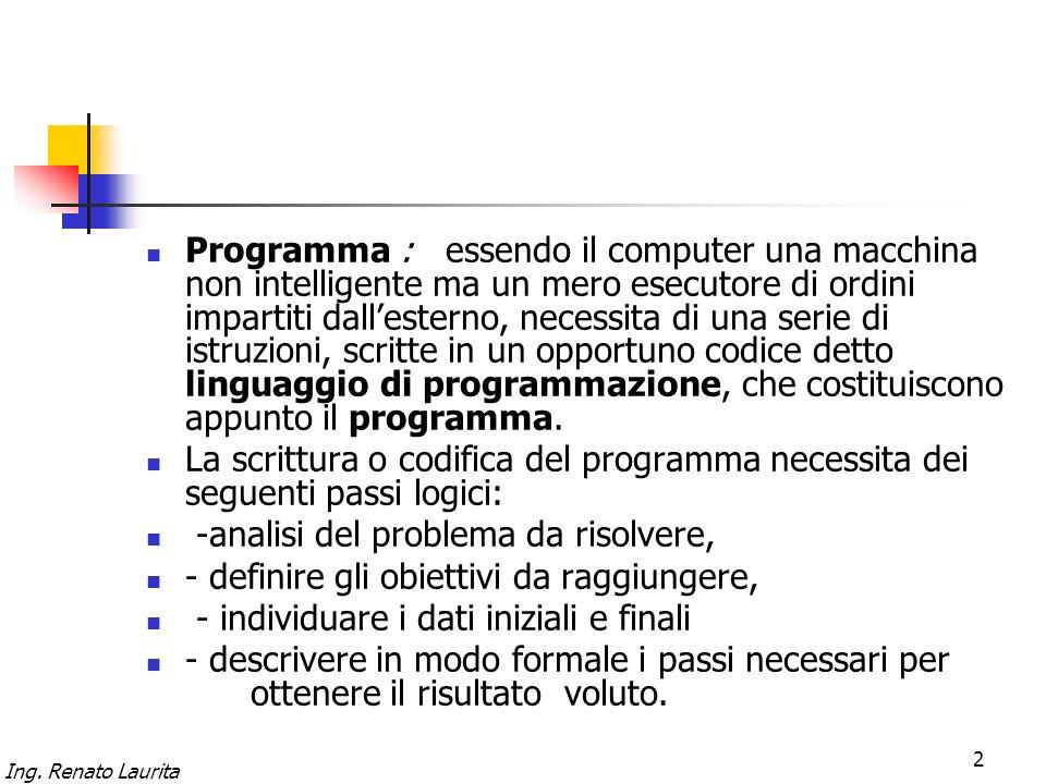 Ing. Renato Laurita 2 Programma : essendo il computer una macchina non intelligente ma un mero esecutore di ordini impartiti dallesterno, necessita di