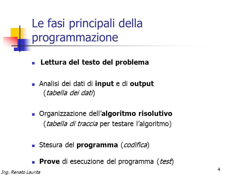 Ing. Renato Laurita 4 Le fasi principali della programmazione Lettura del testo del problema Organizzazione dellalgoritmo risolutivo (tabella di tracc