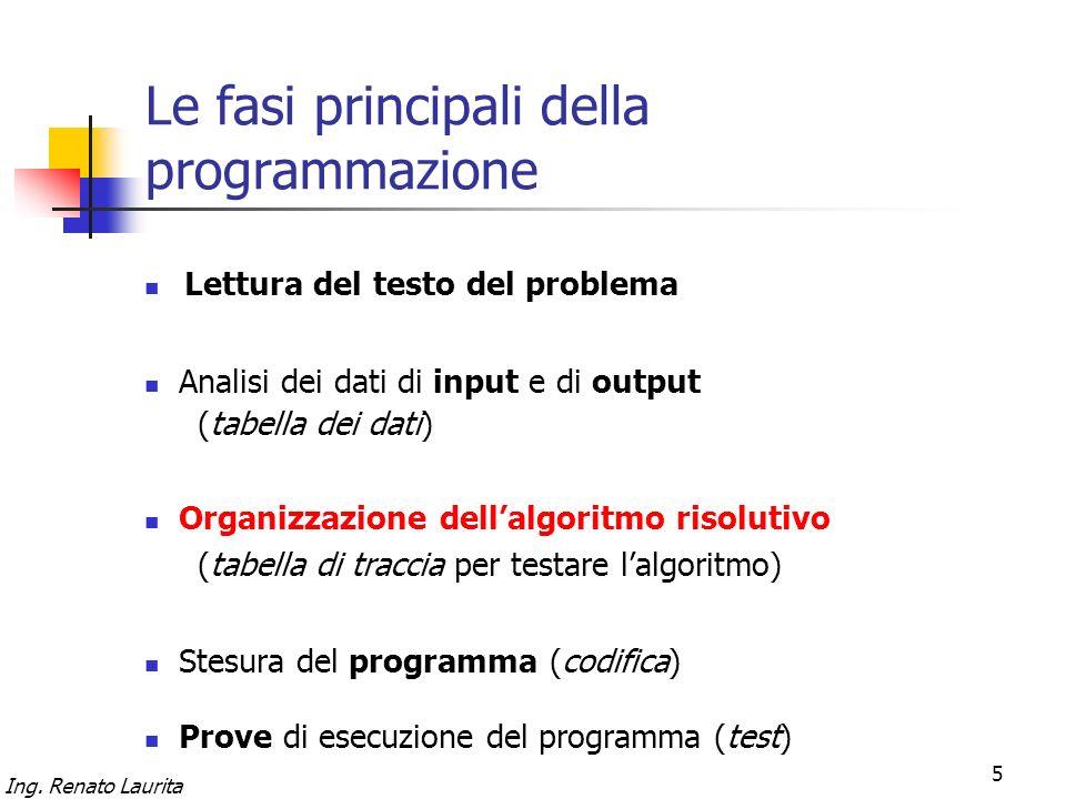 Ing. Renato Laurita 5 Le fasi principali della programmazione Lettura del testo del problema Organizzazione dellalgoritmo risolutivo (tabella di tracc