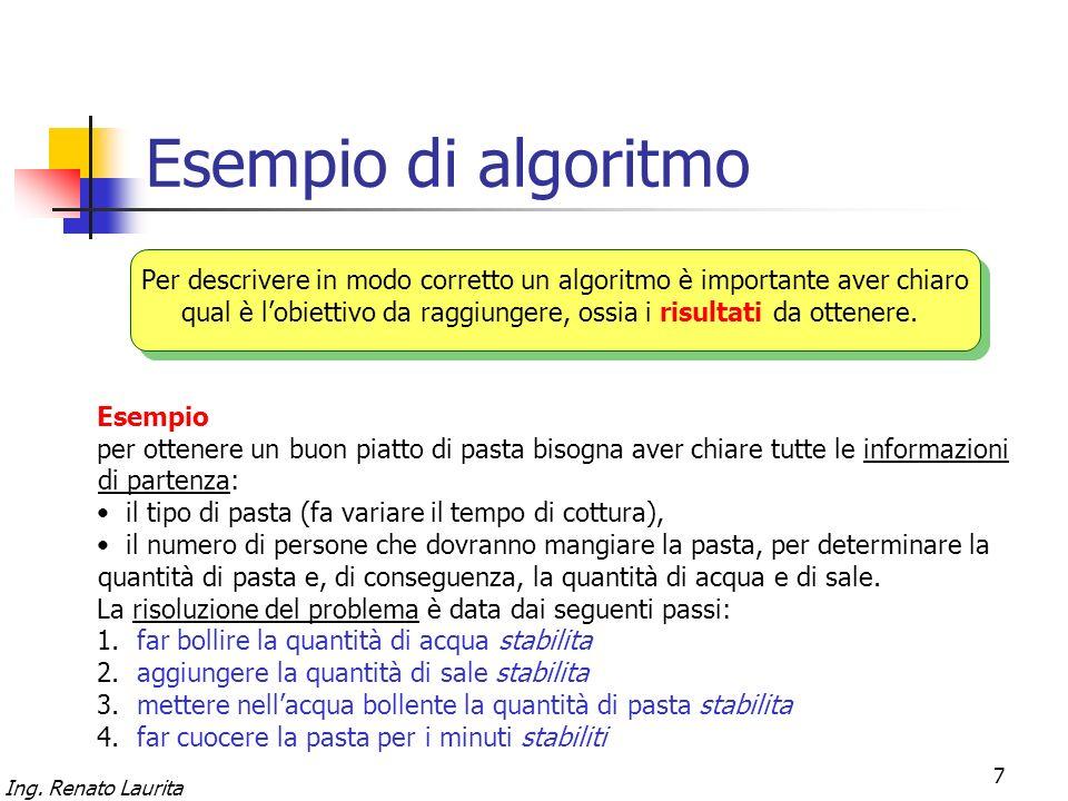 Ing. Renato Laurita 7 Esempio di algoritmo Per descrivere in modo corretto un algoritmo è importante aver chiaro qual è lobiettivo da raggiungere, oss