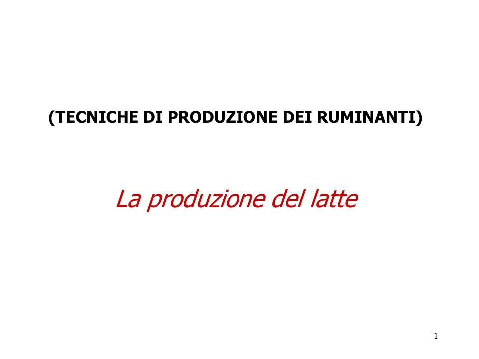 1 (TECNICHE DI PRODUZIONE DEI RUMINANTI) La produzione del latte