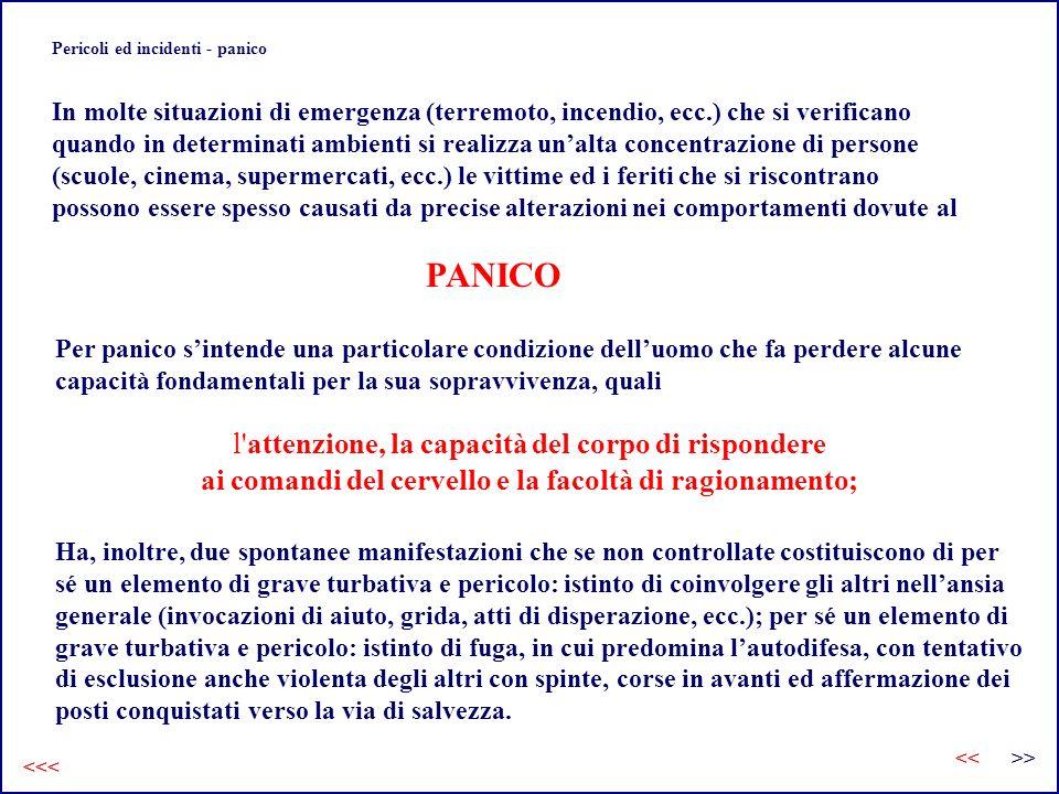 Pericoli ed incidenti - panico In molte situazioni di emergenza (terremoto, incendio, ecc.) che si verificano quando in determinati ambienti si realiz