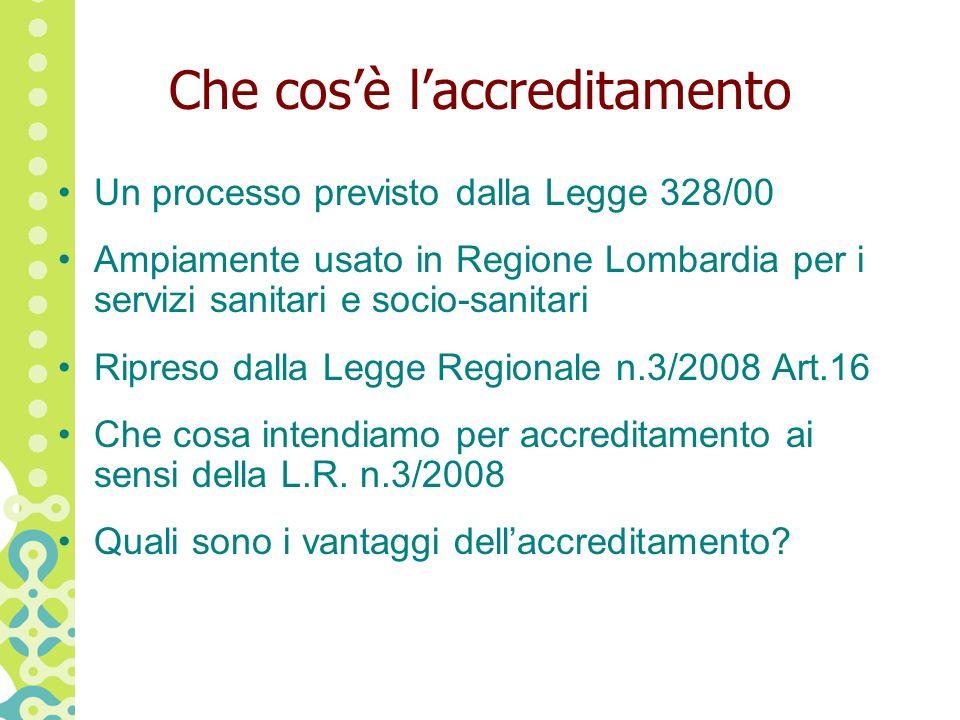 Che cosè laccreditamento Un processo previsto dalla Legge 328/00 Ampiamente usato in Regione Lombardia per i servizi sanitari e socio-sanitari Ripreso dalla Legge Regionale n.3/2008 Art.16 Che cosa intendiamo per accreditamento ai sensi della L.R.