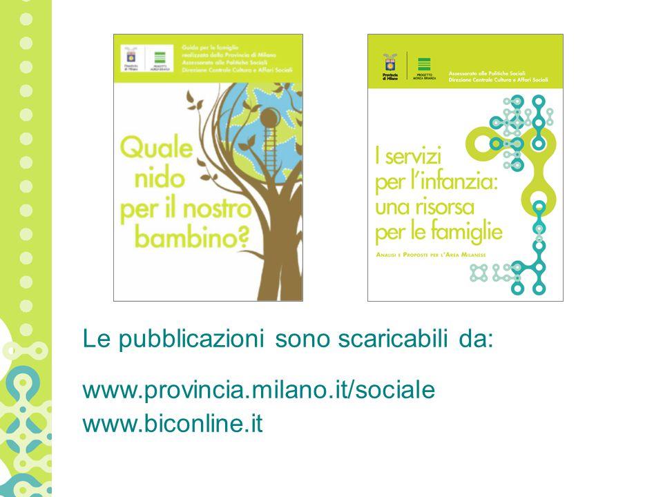 Le pubblicazioni sono scaricabili da: www.provincia.milano.it/sociale www.biconline.it