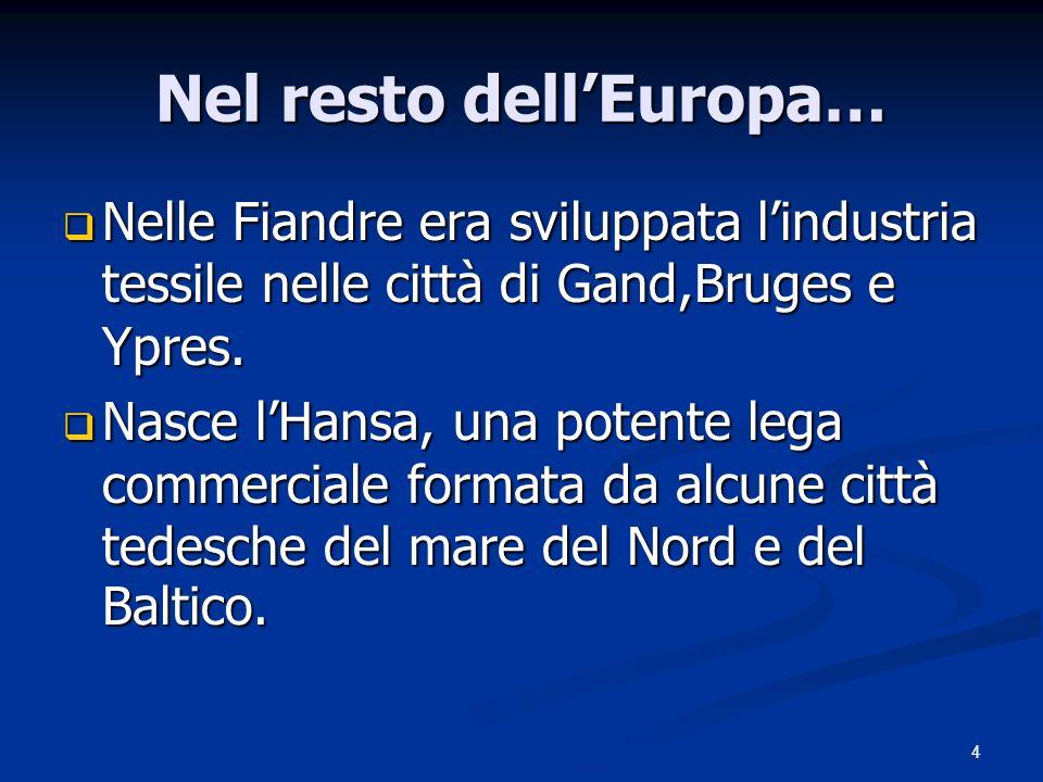 4 Nel resto dellEuropa… Nelle Fiandre era sviluppata lindustria tessile nelle città di Gand,Bruges e Ypres. Nelle Fiandre era sviluppata lindustria te