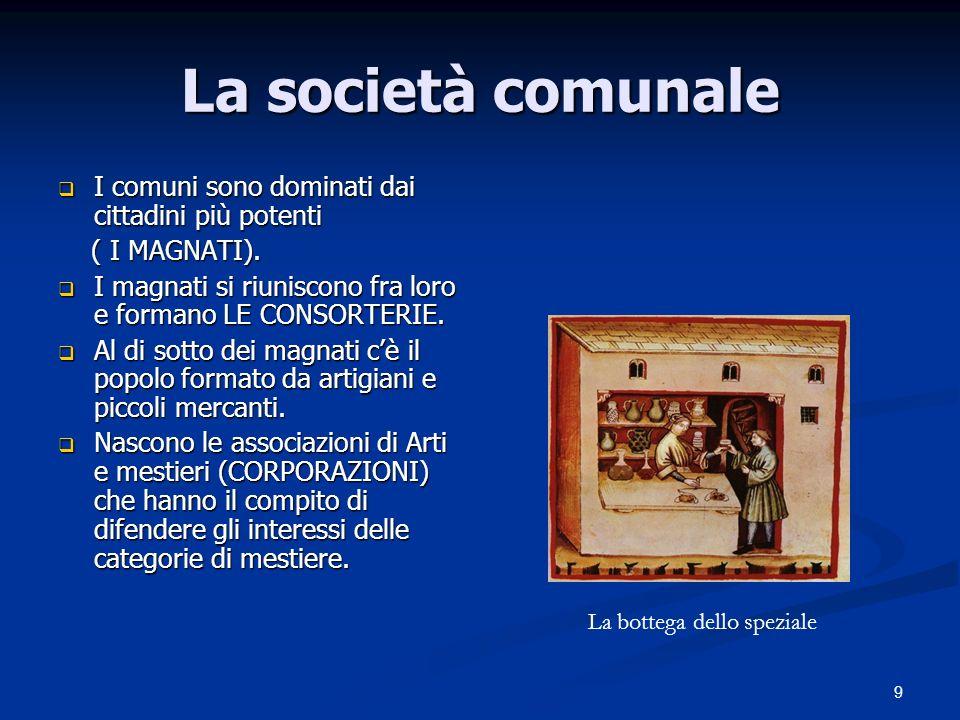 9 La società comunale I comuni sono dominati dai cittadini più potenti I comuni sono dominati dai cittadini più potenti ( I MAGNATI). ( I MAGNATI). I