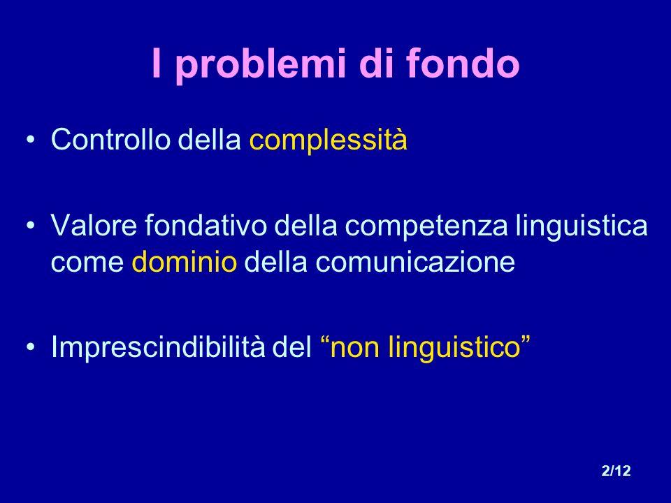 2/12 I problemi di fondo Controllo della complessità Valore fondativo della competenza linguistica come dominio della comunicazione Imprescindibilità del non linguistico