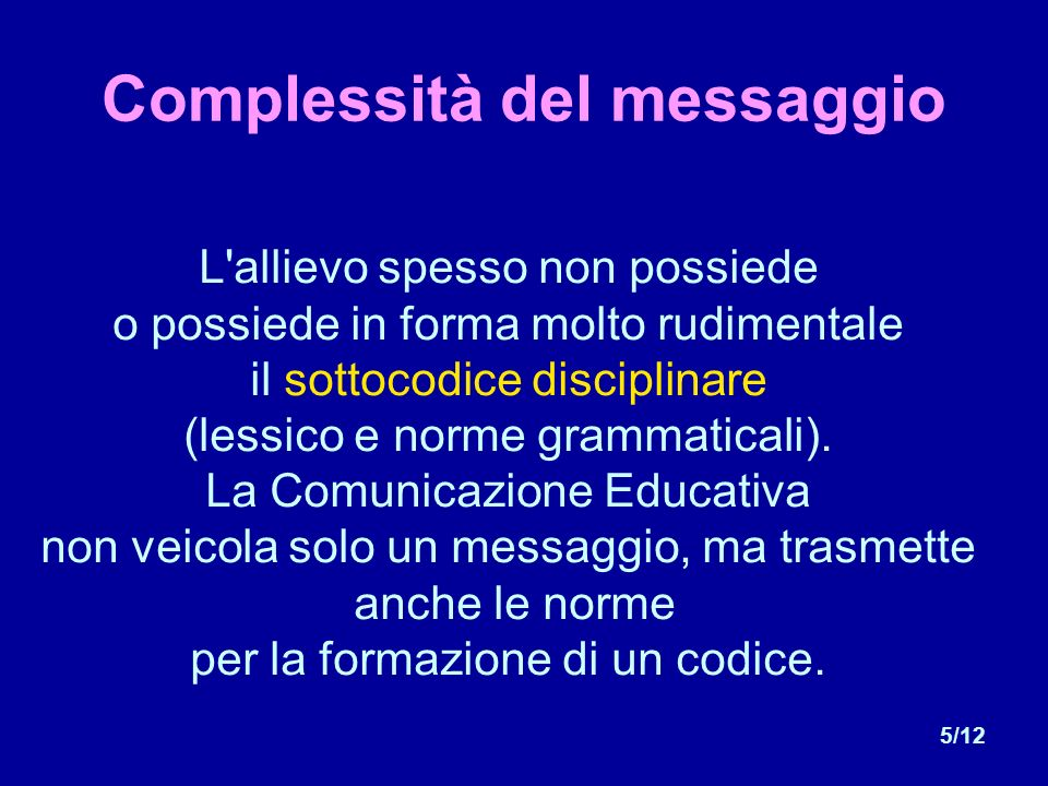 5/12 Complessità del messaggio L allievo spesso non possiede o possiede in forma molto rudimentale il sottocodice disciplinare (lessico e norme grammaticali).