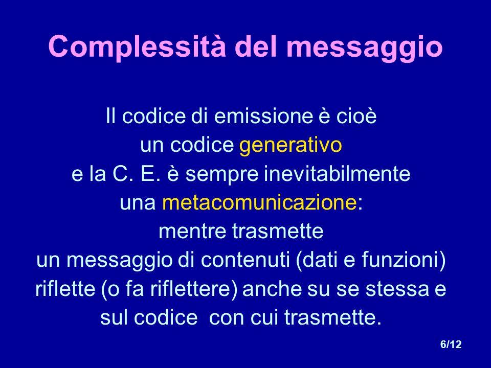 6/12 Complessità del messaggio Il codice di emissione è cioè un codice generativo e la C.