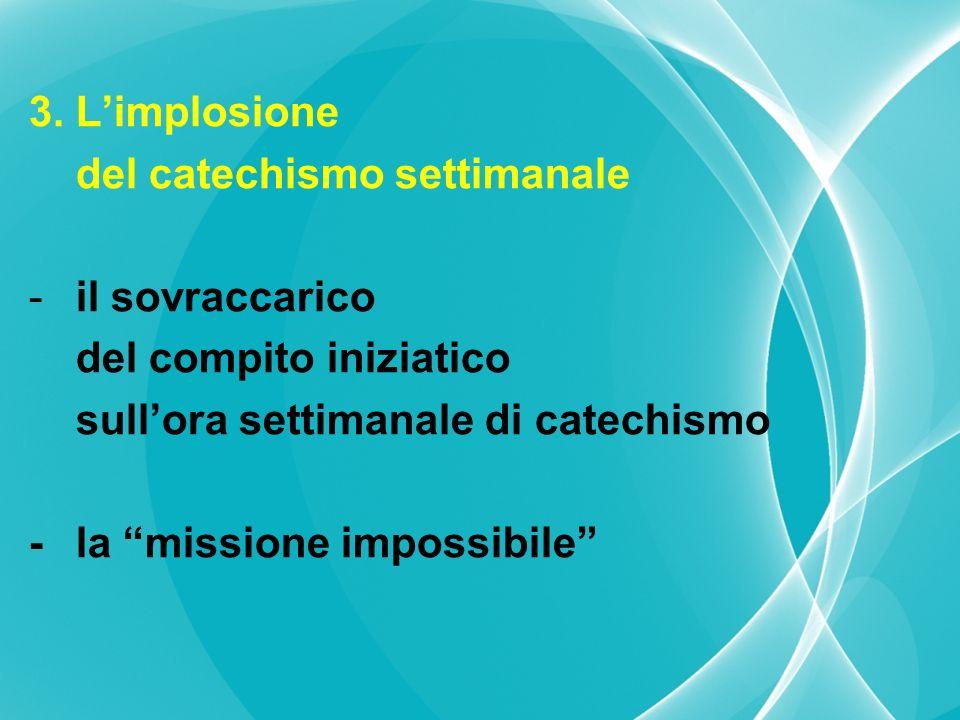 3.Limplosione del catechismo settimanale -il sovraccarico del compito iniziatico sullora settimanale di catechismo -la missione impossibile
