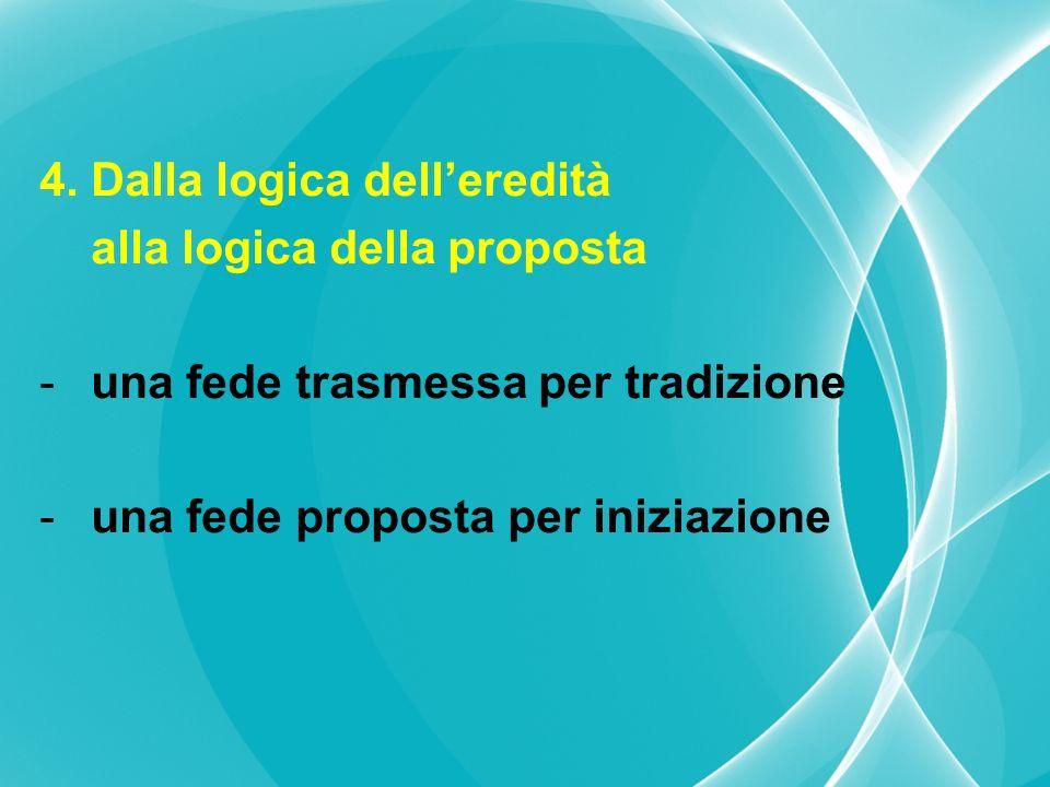 4. Dalla logica delleredità alla logica della proposta -una fede trasmessa per tradizione -una fede proposta per iniziazione