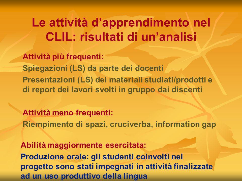 Le attività dapprendimento nel CLIL: risultati di unanalisi Attività più frequenti: Spiegazioni (LS) da parte dei docenti Presentazioni (LS) dei mater