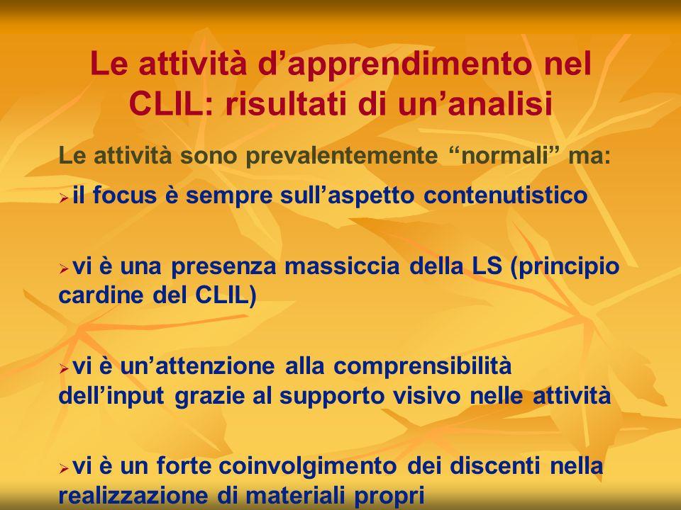 Le attività dapprendimento nel CLIL: risultati di unanalisi il focus è sempre sullaspetto contenutistico vi è una presenza massiccia della LS (princip