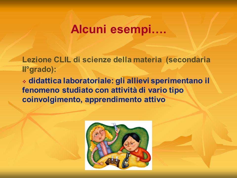 Alcuni esempi…. Lezione CLIL di scienze della materia (secondaria II°grado): didattica laboratoriale: gli allievi sperimentano il fenomeno studiato co