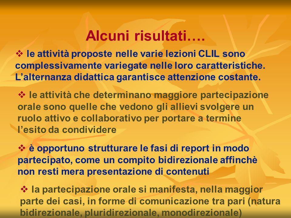 Alcuni risultati…. le attività proposte nelle varie lezioni CLIL sono complessivamente variegate nelle loro caratteristiche. Lalternanza didattica gar